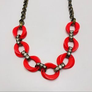 J Crew Coral Jeweled Statement Necklace